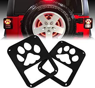 Allinoneparts 2007-2018 JK JKU Jeep Wrangler Tail Lamp Tail light Cover Trim Guards Protector Dog Paw Style for Jeep Wrangler Accessories & Unlimited Rubicon Sahara Sports(Pair)