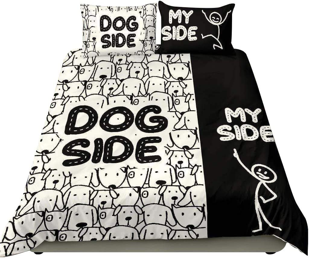 Gud Decor Cute Dog Side My All items in the store Classic Black White and Bedding Set Bedr