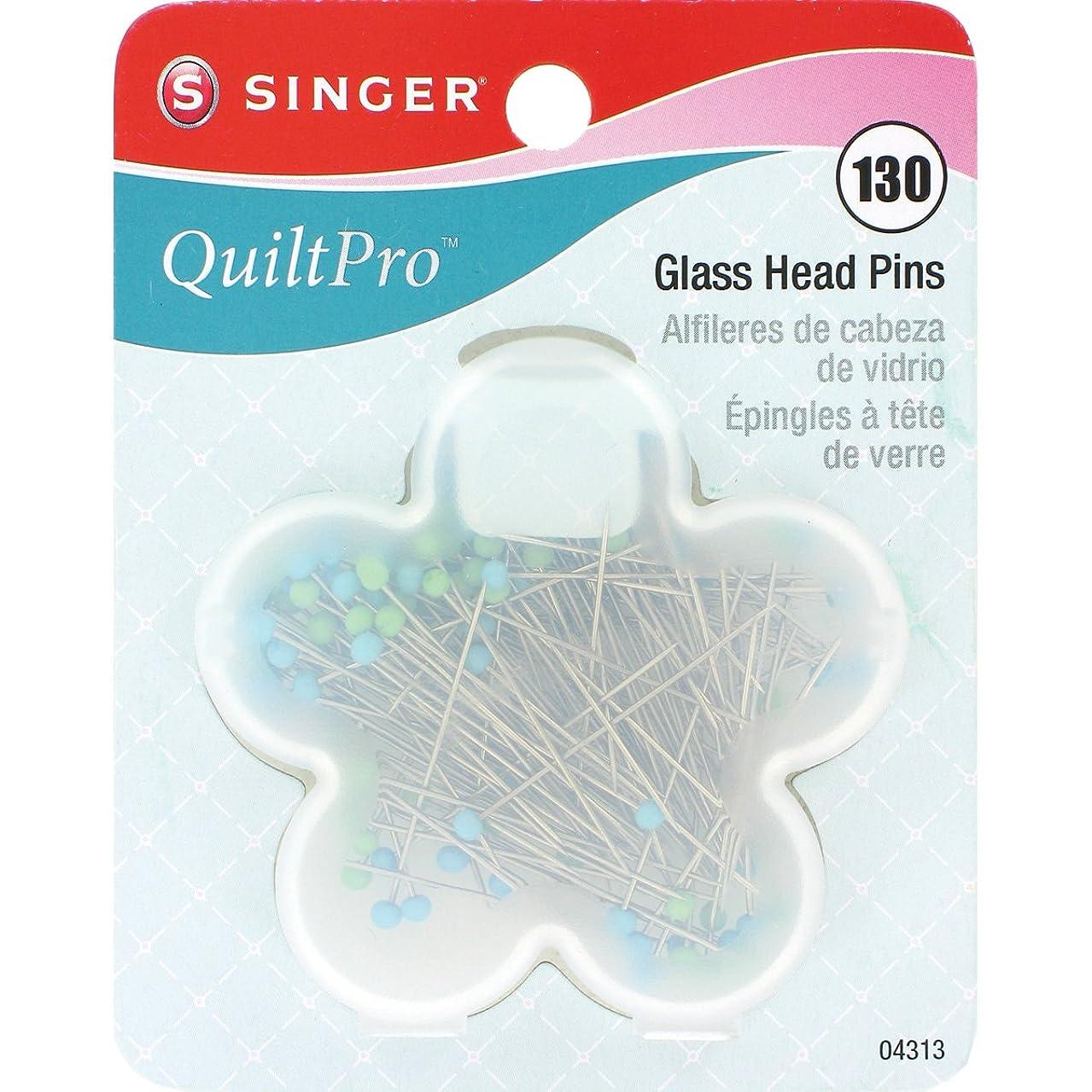 SINGER 04313 Quilting Glass Head Pins in Flower Case