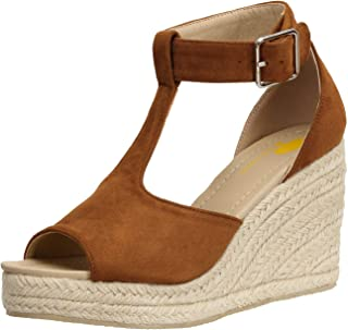 e13defd35fedd0 Sandales Bout Ouvert Femme Bride Cheville avec Boucle Espadrilles Faux  Suede Chaussures Compensées