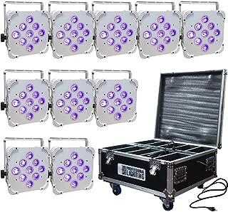 LED Battery Powered Wireless DMX - 16 Hour - 10 Lights w/Case - 9x6W RGBAW+UV - Wedding Up Lights
