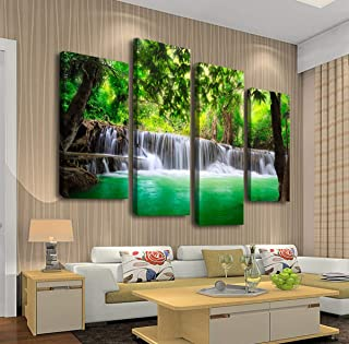 Cao Gen Decor Art-S45748 4 Panels Wall Art Beautiful Waterfall Prints Green Forest Nature Stretched and Framed Canvas Paintings Stream Water Landscape for Home Office Wall Decor Artwork X Lager
