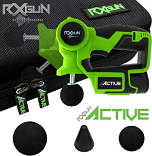 RxGun ACTIVE Percussion Professional Massager 3 Attachment Cordless Rechargeable Handheld Percussive Deep Tissue Body Neuromuscular Muscle Pounding Vibration Therapy Massage Gun Tool