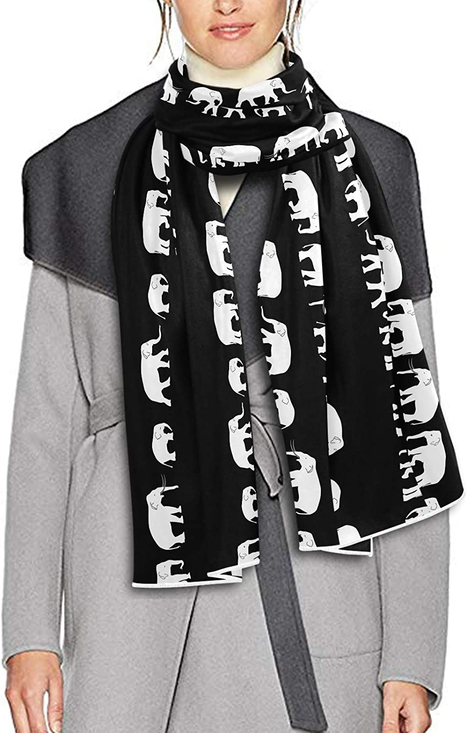Scarf for Women and Men White Elephants Walking Blanket Shawl Scarf wraps Soft Winter Large Scarves Lightweight