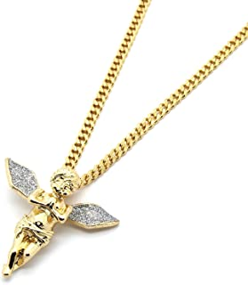 Gold Tone Silver Stardust Long Wings Angel Pendant Hip-hop with 3mm 30