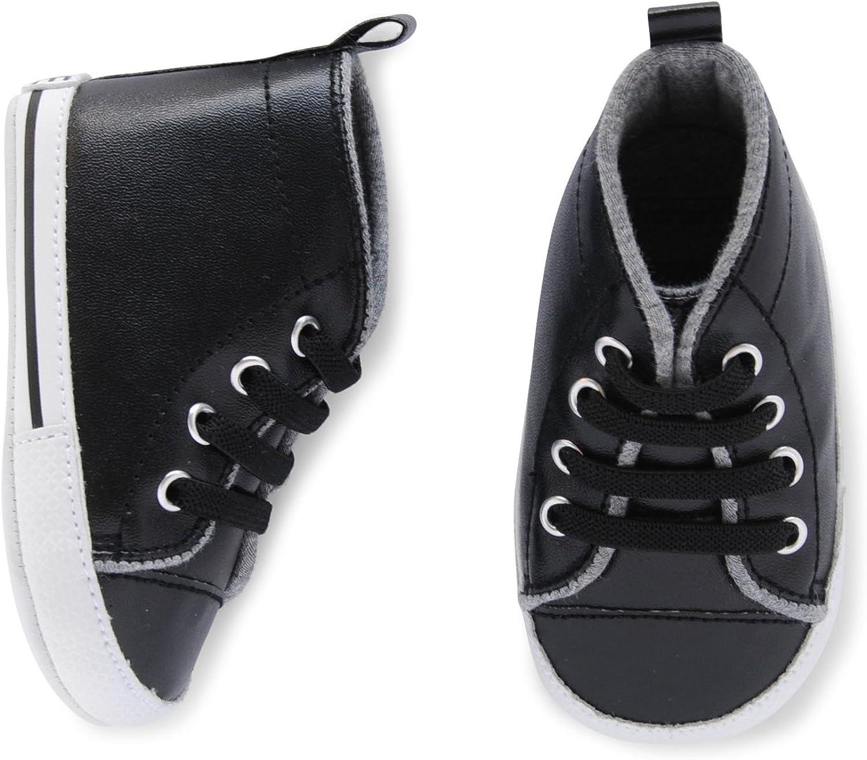 Carter's Boys Baby Boy Cool Dude Hi Top Sneaker, Black White Crib shoes