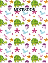 Notebook: Sea Animal Print Composition notebook ( Turtle , jelly fish , star fish   120 pages   8.5x11 inch   for jotting ...