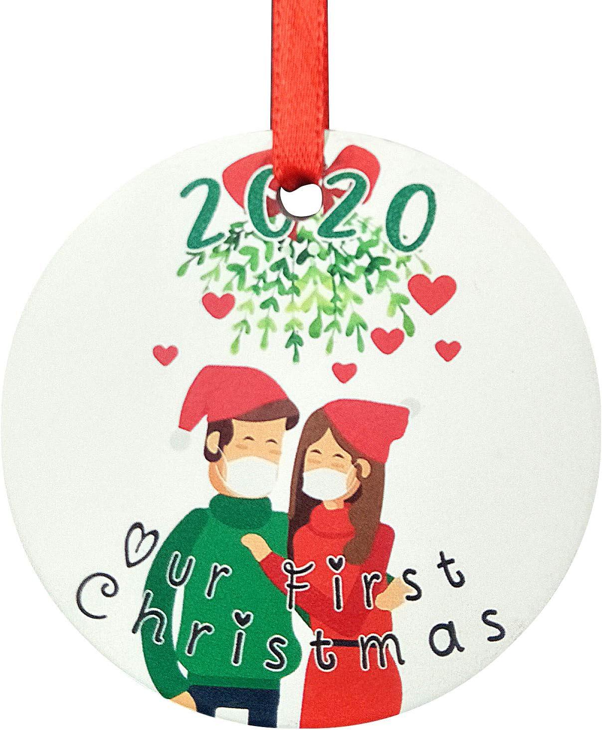 2 Piezas Adornos navide/ños 2020 Adornos navide/ños de cer/ámica Mingting Adornos navide/ños Personalizados