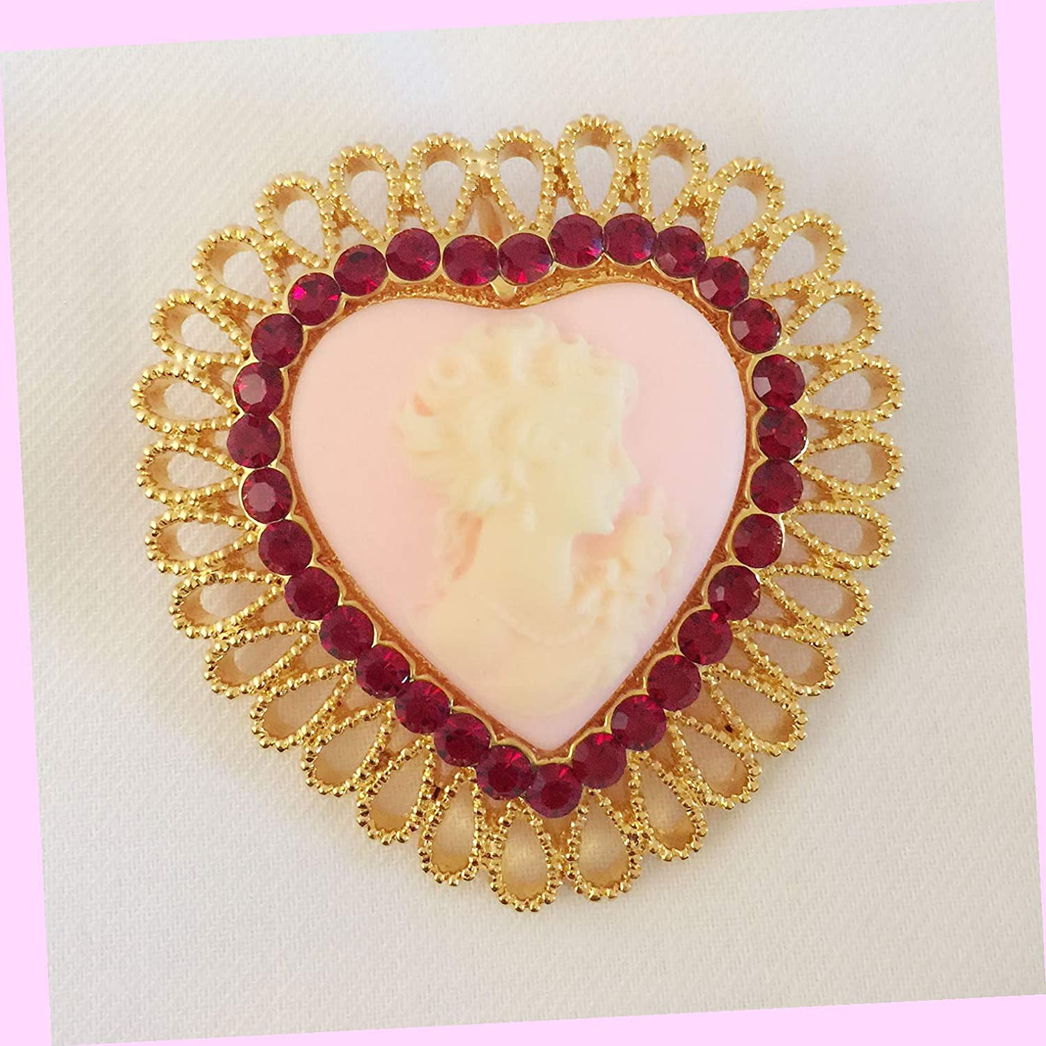 Heart Vintage Style Cameo Brooch & Pendant Pin Love Wedding Party Br1070 Rhinestone Brooch Pin for Women