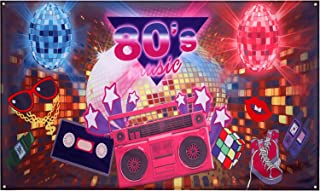 6 x 3 Feet Fabric 80's Party Backdrop 80th Themed Party Photography Backdrop Hip Hop Style Photo Booth Background 80's Party Decorations