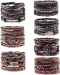 FUEGOELVES 12-30PCS Leather Bracelets Cuff Wristbands Genuine Braided Woven cuff Bangle