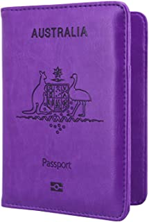 Passport Holder Travel Cover Case - HOTCOOL Leather RFID Blocking Wallet For Passport, Purple