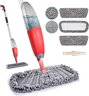 Mop podłogowy z mikrofibry - HOMTOYOU mop do czyszczenia podłogi z twardego drewna z 635 ml butelka do wielokrotnego napeł...