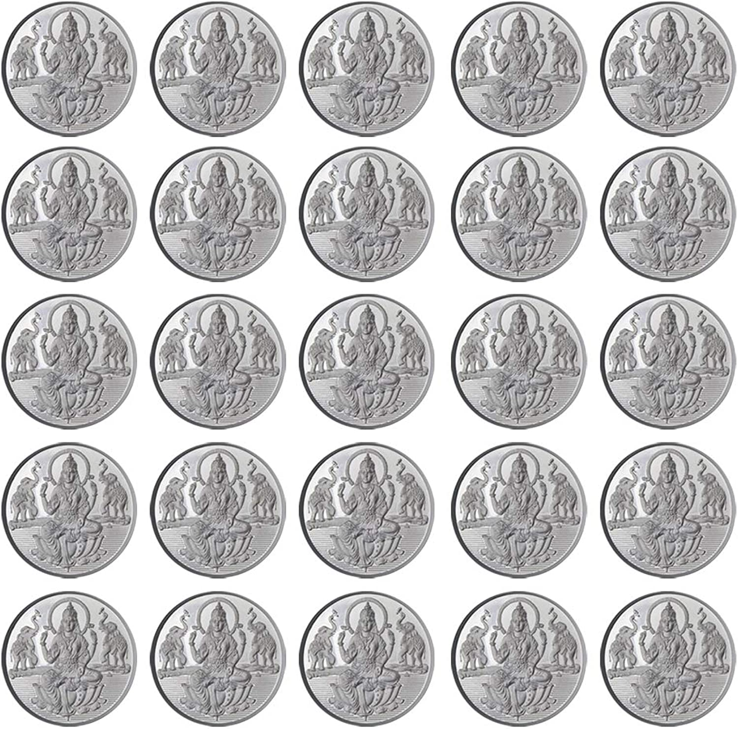 Goddess Laxmi Coin In Pure 999 Silver 5 Grams Set Of 25 Religious Coins