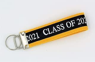 Class of 2021 Wristlet Key Fob Keychain Yellow