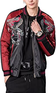 LETSQK Men's Retro Casual MA-1 Air Force Dragon Embroidery Baseball Bomber Jacket