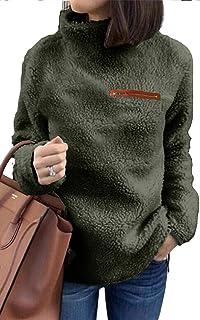 onlypuff Sherpa Jacket Women Pullover Sweaters Winter Warm Tops Fleece Fuzzy Sweatshirt Tunic Blouse