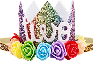 Maticr Baby Girl Glitter 1 2 3 First Birthday Rainbow Flower Crown Hat Floral Tiara Headband for Photo Prop (Letter Two)