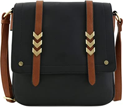 Double Compartment Large Flapover Crossbody Bag with Colorblock Straps