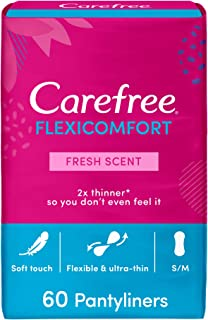 CAREFREE Daily Panty Liners, FlexiComfort, Fresh Scent, Pack of 60