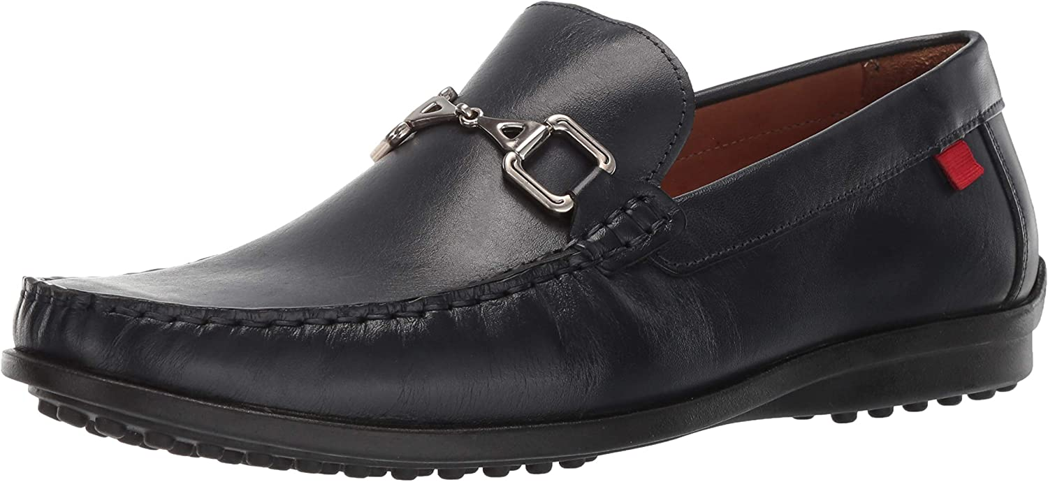 MARC JOSEPH NEW YORK Mens Grainy Leather Carneige Hill Buckle Loafer, Navy Brushed Nappa, 10 M US