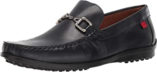 Mens Grainy Leather Carneige Hill Buckle Loafer, Navy Brushed Nappa, 12 M US