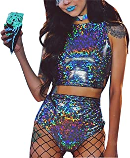 e7531a5fe55a3e Women Rave Crop Top   Booty Shorts Bottoms Metallic Silver Hologram Outfit