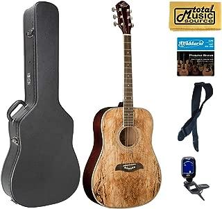 Oscar Schmidt OG2SM Acoustic Guitar - Spalted Maple Hard Case Bundle, OG2SM CASEPACK