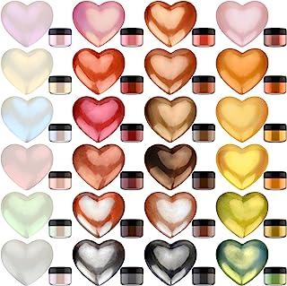 Poudre de Pigment Métallique - 24 Couleurs x 5g Pigment de Resine Epoxy Scintillante Colorant de Savon pour Epoxy Resin Ar...