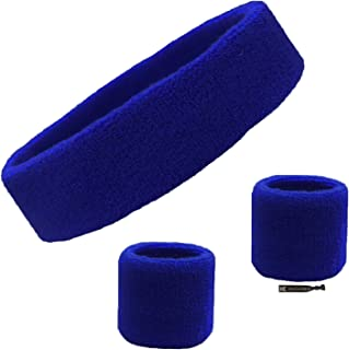 Kenz Laurenz Sweatband Set Cotton Sports Headband Terry Cloth Wristband Moisture Wicking Sweat Absorbing Head Band Athletic Exercise Basketball Wrist Sweatbands and Headbands