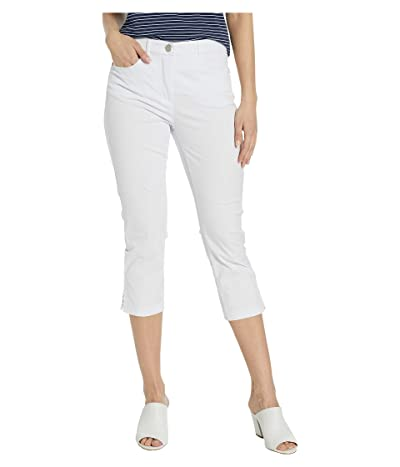 Tribal Stretch Mini Twill Fly Front Capris (White) Women