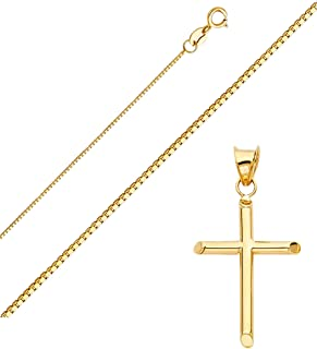 Top Gold & Diamond Jewelry Solid 14K Gold Box Chain Cross Pendant Necklace - Choose Chain Length and Width