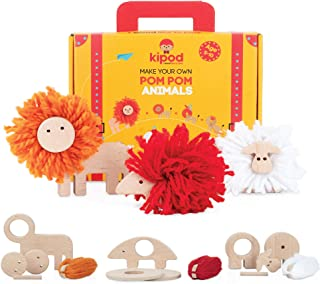 PomPom Animals Wooden Toys Kit – DIY Lion, Porcupine, and Sheep Arts and Crafts Pom Pom Kit for Kids Ages 4-9 Years Old – ...
