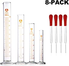 Young4us Glass Graduated Cylinders, Pack of 8 Cylindrical Glass Measuring & Glass Droppers Set, 4 Cylinders in 4 Sizes with Scales, 100ml, 50ml, 25ml, 10ml, 4 Glass Droppers Without Scales (3ml)