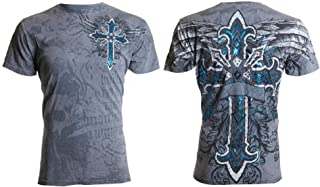 Affliction Archaic Mens T-Shirt Cross Wings Grey