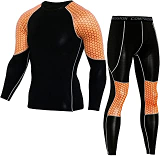 Bmeigo Men's Sport Clothing Set Fitness Shirt Leggings Sports Compression Long Sleeve Tights Fast Dry Workout Training Suit