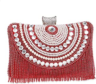 Runhuayou Women's Crystal Rhinestone Fringe Evening Clutch Dinner Garb Chain Bag Banquet Bag Wedding Nuptial Pearl Bags Great for Casual or Many Other Occasions Such (Color : Red)