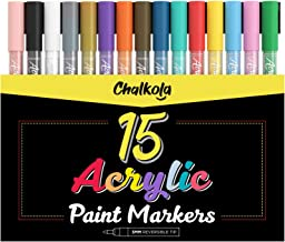 Acrylic Paint Pens for Rock Painting, Stone, Ceramic, Glass, Wood, Canvas - Set of 15 Colors, Fine Tip Water Based Paint M...