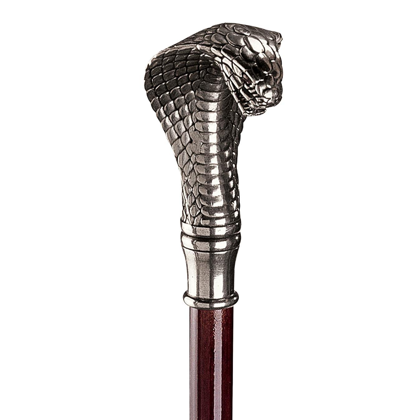 Design Toscano Cobra Walking Stick, 35 Inch, Pewter Handle and Hardwood Cane, Silver
