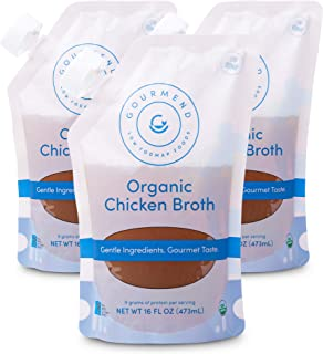 Low FODMAP Organic Chicken Broth from Gourmend Foods (3 Pack) – Gluten Free, Onion & Garlic Bulb Free, Preservative Free, ...