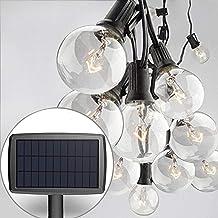Sunlitec Solar String Lights Waterproof LED Indoor/Outdoor Hanging Lights with Bulbs - 27 Ft Patio Lights for Deckyard Ten...