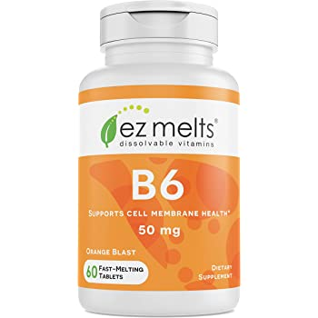 EZ Melts B6 as Pyridoxine, 50 mg, Immune Support, Sublingual Vitamins, Vegan, Zero Sugar, Natural Orange Flavor, 60 Fast Dissolve Tablets