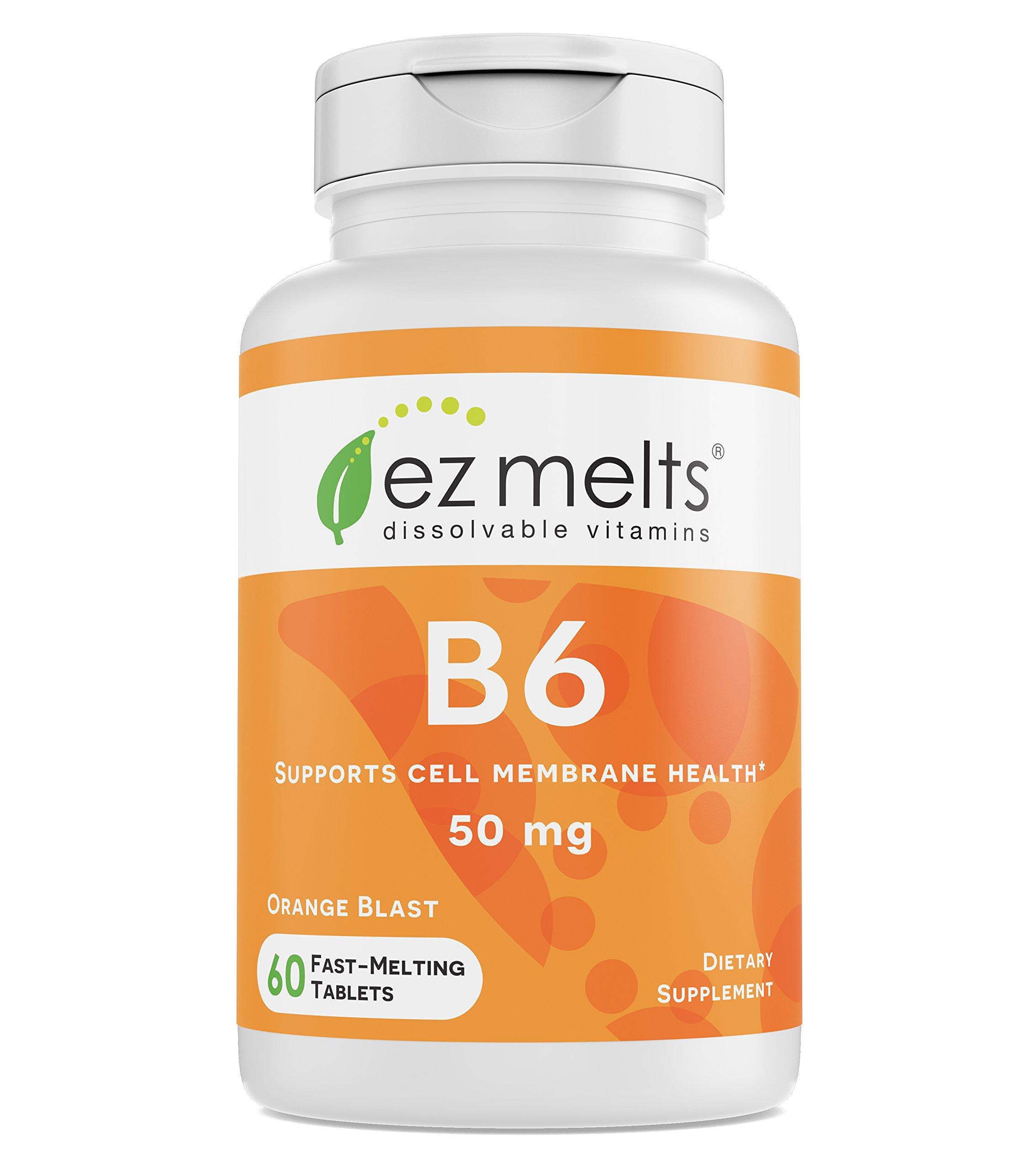 EZ Melts B6 as Pyridoxine, 50 mg, Sublingual Vitamins, Vegan, Zero Sugar, Natural Orange Flavor, 60 Fast Dissolve Tablets