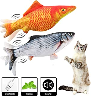IKDAY Moving Fish Cat Toy,Electric Interactive Flopping Fish Cat Toy, Wiggly Realistic Plush Simulation Toy for Cat Kitty Kitten, Kicking Biting Chewing Teething Pet Toy, 2 Pack + 2 Catnip Bags