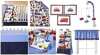 Bacati - Transportation Multicolor 10 Piece Crib Set 10-Piece Nursery-in-a-Bag Crib Bedding Set with Bumper Pad, 100 Percent Cotton Percale Boys Crib Bedding Set with Bumper Pad for US Standard Cribs