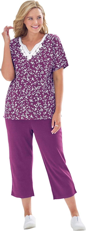 Woman Within Women's Plus Size 2-Piece Tunic And Capri Set