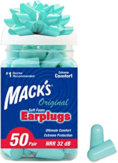 Mack's Original Soft Foam Earplugs, 50 Pair - 32dB Highest NRR, Comfortable Ear Plugs for Sleeping, Snoring, Work, Travel ...