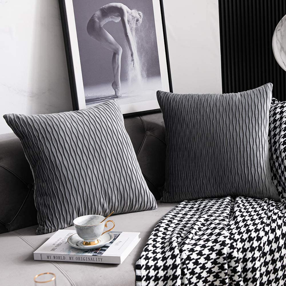 DEZENE Grey Striped Decorative Pillow Save money Cases: 18x18 Pack O 2 Inch OFFicial site