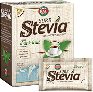 KAL® Sure Stevia™ Extract Powder Plus Monk Fruit (Luo Han) | Best-Tasting, Zero Calorie, Low Glycemic | 100 Single-Serve P...