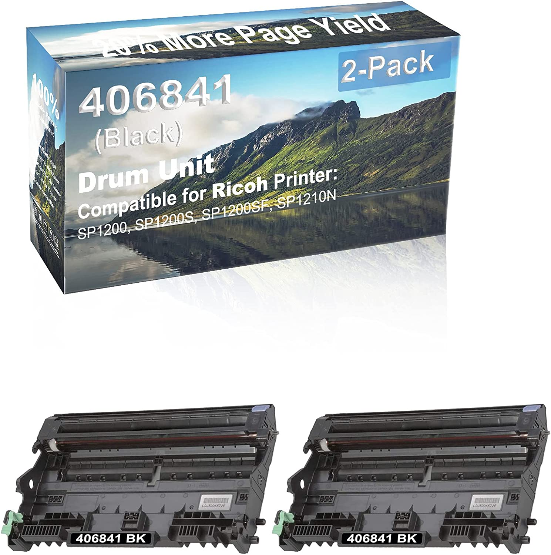 2-Pack Compatible 406841 Drum Kit use for Ricoh Aficio SP1200, SP1200S, SP1200SF, SP1210N Printer (Black)